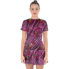 Peacock Feathers Color Plumage Drop Hem Mini Chiffon Dress by Sapixe