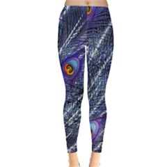 Peacock Feathers Color Plumage Blue Leggings  by Sapixe