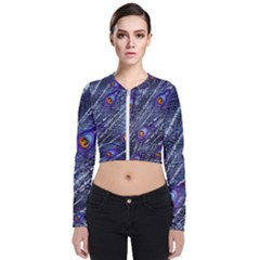 Peacock Feathers Color Plumage Blue Long Sleeve Zip Up Bomber Jacket by Sapixe
