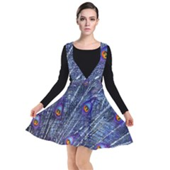 Peacock Feathers Color Plumage Blue Plunge Pinafore Dress by Sapixe
