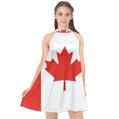 Flag Of Canada Halter Neckline Chiffon Dress