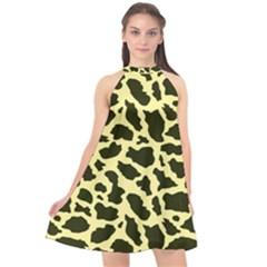 Yellow Giraffe Halter Neckline Chiffon Dress