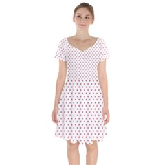 Red Polka Dot Short Sleeve Bardot Dress