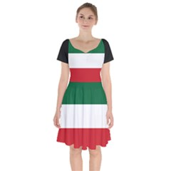Flag Patriote Quebec Patriot Red Green White Modern French Canadian Separatism Black Background Short Sleeve Bardot Dress