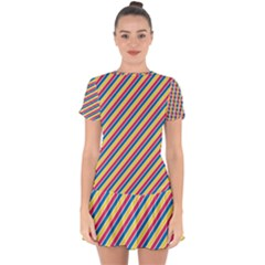 Colorful Lines Drop Hem Mini Chiffon Dress by goljakoff