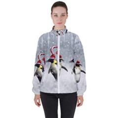Funny Penguin In A Winter Landscape Women s High Neck Windbreaker by FantasyWorld7
