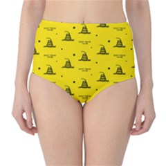 Gadsden Flag Don t Tread On Me Yellow And Black Pattern With American Stars Classic High Waist Bikini Bottoms by snek
