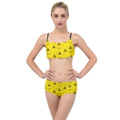 Gadsden Flag Don t Tread On Me Yellow And Black Pattern With American Stars Layered Top Bikini Set by snek