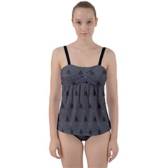 Gadsden Flag Don t Tread On Me Black And Gray Snake And Metal Gothic Crosses Twist Front Tankini Set by snek