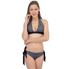 Gadsden Flag Don t Tread On Me Black And Gray Snake And Metal Gothic Crosses Tie It Up Bikini Set by snek
