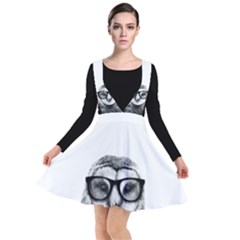 Hipster Owl Plunge Pinafore Dress by goljakoff