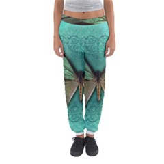 Butterfly Background Vintage Old Grunge Women s Jogger Sweatpants by Amaryn4rt