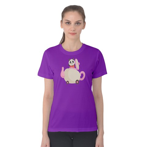 Panda Bear In A Teapot Women s Cotton Tee by sweetTeresa11
