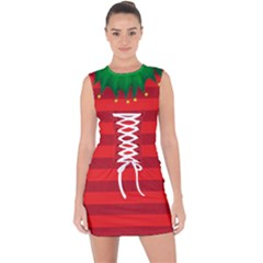 Red Christmas Elf Funny Realistic Costume Lace Up Front Bodycon Dress by snek