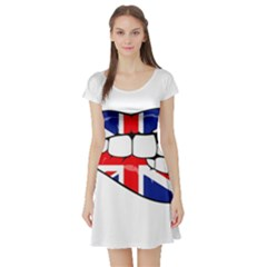 Uk Lips Short Sleeve Skater Dress