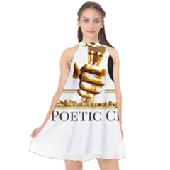 Halter Neckline Chiffon Dress  by PoetsBlock