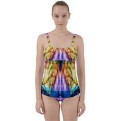 Abstract Pattern Color Colorful Twist Front Tankini Set by Wegoenart