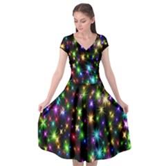 Star Colorful Christmas Abstract Cap Sleeve Wrap Front Dress by Wegoenart