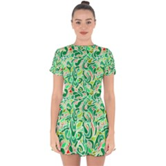 Green Abstract Drops Pattern Drop Hem Mini Chiffon Dress by goljakoff