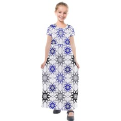 Pearl Pattern Floral Design Art Digital Seamless Blue Black Kids  Short Sleeve Maxi Dress by Vaneshart