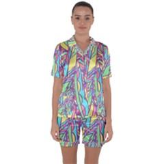 Feathers Pattern Satin Short Sleeve Pyjamas Set by Sobalvarro