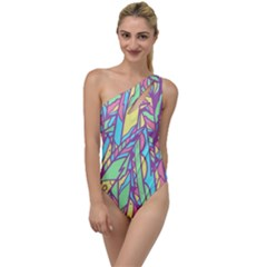 Feathers Pattern To One Side Swimsuit by Sobalvarro