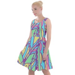 Feathers Pattern Knee Length Skater Dress by Sobalvarro