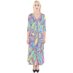 Feathers Pattern Quarter Sleeve Wrap Maxi Dress by Sobalvarro
