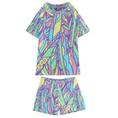 Feathers Pattern Kids  Swim Tee And Shorts Set by Sobalvarro