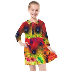 Illustrations Structure Lines Kids  Quarter Sleeve Shirt Dress by Jojostore