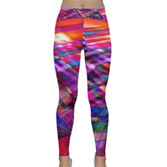 Wave Lines Pattern Abstract Classic Yoga Leggings by Alisyart