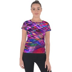 Wave Lines Pattern Abstract Short Sleeve Sports Top  by Alisyart
