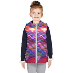 Wave Lines Pattern Abstract Kids  Hooded Puffer Vest by Alisyart