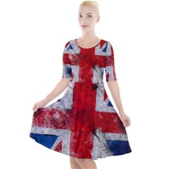 Grunge Kingdom Flag Quarter Sleeve A Line Dress by goljakoff