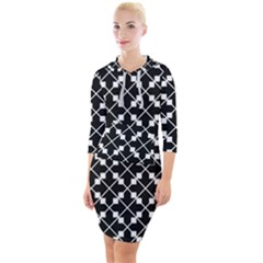 Abstract Background Arrow Quarter Sleeve Hood Bodycon Dress