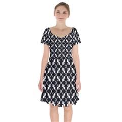 Abstract Background Arrow Short Sleeve Bardot Dress by HermanTelo