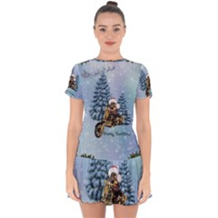 Merry Christmas, Funny Mouse On A Motorcycle With Christmas Hat Drop Hem Mini Chiffon Dress by FantasyWorld7