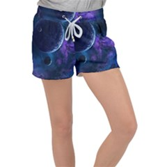 Blue Space Women s Velour Lounge Shorts by goljakoff