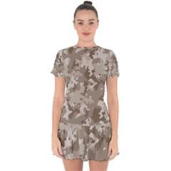 Tan Army Camouflage Drop Hem Mini Chiffon Dress