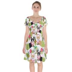Corgis Hula Pattern Short Sleeve Bardot Dress by Sapixe