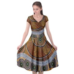 Aboriginal Traditional Pattern Cap Sleeve Wrap Front Dress by Sapixe