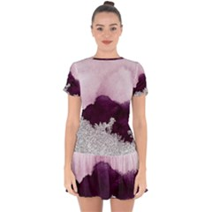 Purple Watercolor Silver Foil Drop Hem Mini Chiffon Dress by goljakoff
