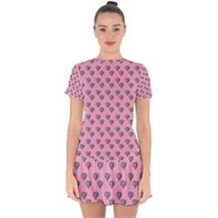 Patchwork Heart Pink Drop Hem Mini Chiffon Dress