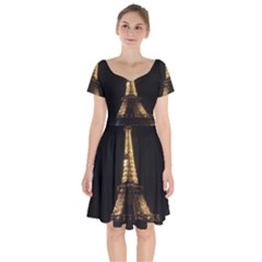 Tour Eiffel Paris Nuit Short Sleeve Bardot Dress