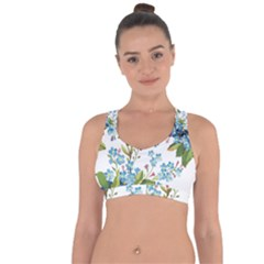 Blue Floral Print Cross String Back Sports Bra by designsbymallika