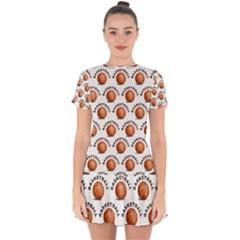 Orange Basketballs Drop Hem Mini Chiffon Dress