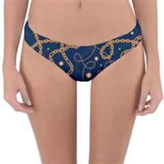 Golden Chain Pattern Reversible Hipster Bikini Bottoms by designsbymallika