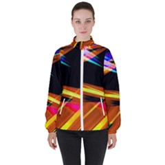 Lines Vibrations Wave Pattern Women s High Neck Windbreaker by AnjaniArt