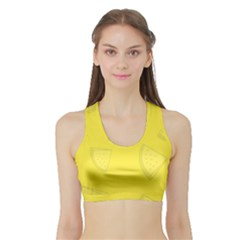 Yellow Pineapple Background Sports Bra With Border