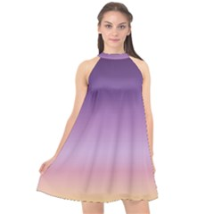 Sunset Evening Shades Halter Neckline Chiffon Dress